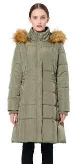 women s puffer down coat winter jacket with faux fur trim hood