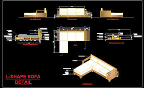 l shape sofa dwg detail with isometric