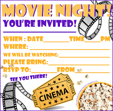 invitations for sleepover party movie night invitation invitations for sleepover party movie night invitation printable personalise by filling in blanks