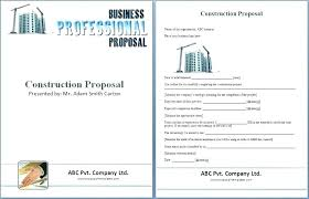 Contract Bid Proposal Bid Packet For Construction Contracts Sample Forms Free Contractor