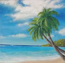 two palm tree tropical beach scene island by misunartstudio 25 00