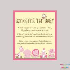 Girl Safari Baby Shower Bring a Book Instead of Card Invitatio Best Books Of Cards Products on Wanelo