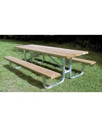 wooden picnic table pine planks galvanized steel legs
