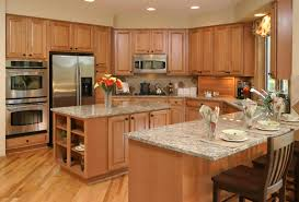 Red Lacquer Kitchen Cabinets U Shaped Kitchen Designs With Island Mosaic Tile Backsplash Behind