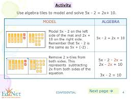 both sides of the equation confidential 4 activity use algebra tiles to model and solve 5x 2 2x 10