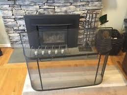 pleasant hearth fireplace screen 1panel black steel industrial traditional decor