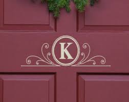 exterior door stickers. vinyl decal monogram letter with scrolls front door decor, mailbox decals and personalized gifts exterior stickers o