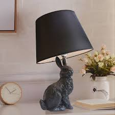 <b>Resin</b> black White Rabbit <b>Modern LED</b> Table Lamp Black stand ...
