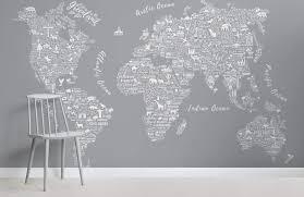 grey world map wallpaper typography