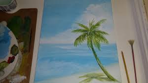 acrylic seascape painting lesson pt 1 painting a beach scene background you