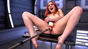 Spanish redhead has orgasms on fucking machine HD Porn Videos.