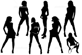 シルエット イラスト 女性 7名 イラスト素材 548598 フォトライブ