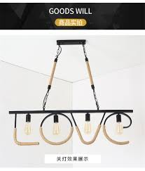 Großhandel Amerikanischen Retro Loft Industrielle Kronleuchter Licht Hanfseil Romantische Liebe Bar Restaurant Bekleidungsgeschäft Eisen Hängen