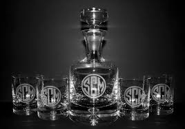 taylor decanter set w engraved initials round