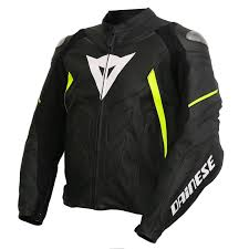 dainese avro d1 leather jacket black fluo yellow zoom