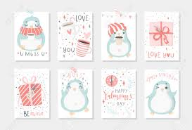 Set Of 8 Cute Ready To Use Gift Romantic Postcards With Penguins