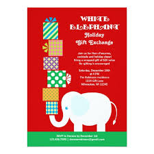 white elephant gift invitation. Perfect Elephant White Elephant Holiday Gift Exchange Invitation In T