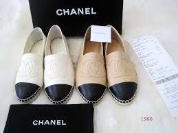 chanel leather espadrilles flats shoes two tone cap toe size 36 42