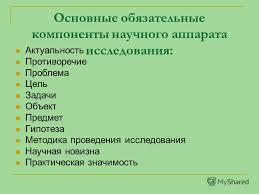 Презентация на тему Подготовка и составление научного аппарата  2 Основные обязательные компоненты