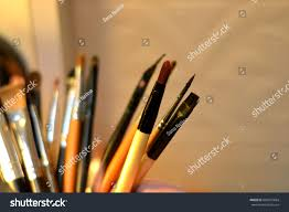 makeup brushes used for the of make up or face painting made out of natural