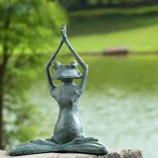 stretching yoga frog garden sculpture