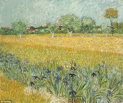 the blue irises in the foreground of vincent van gogh s field with irises near arles