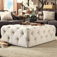 tufted coffee table ottoman french country round linen tufted coffee table ottoman