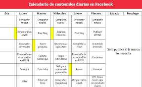 formato cronograma de actividades mensual plantilla calendario de contenidos para gestionar una marca facebook