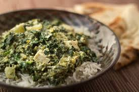 indian curry with spinach and tofu