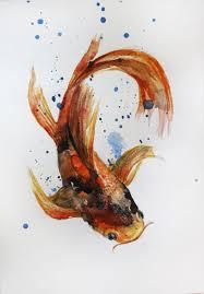 original watercolor painting koi fish gold fish sea