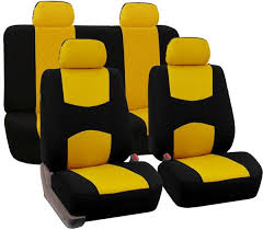 fh group universal fit full set flat cloth fabric car seat cover gray black fh fb050114 fit most car truck suv or van fb050yellow114
