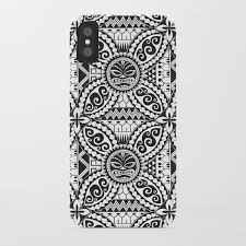 Polynesian Samoan Hawaiian Black White Tattoo Design Iphone Case