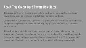 Credit Payoff Calculator Credit Card Payoff Calculator Calculate Your Credit Card