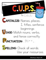 Revise And Edit Anchor Chart Revise And Edit Writing With Cups And Arms Anchor Charts Display And Handouts