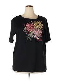Details About Bob Mackie Women Black Short Sleeve T Shirt Xl