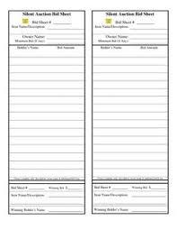 Bid Sheet For Silent Auction Printable Silent Auction Bid Sheet Free Silent Auction Bid Sheets Silent