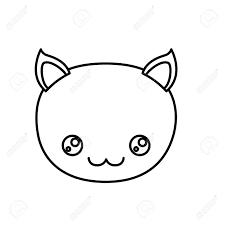 かわいい似顔絵顔猫かわいい動物のしあわせ度式ベクトル イラストのシルエットをスケッチします