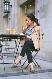 women s beige pea coat white and navy gingham dress shirt navy skinny pants tan leopard leather loafers women s fashion