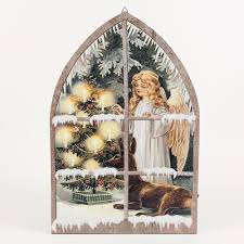 Canvas Christmas Prints With Led Lights Details About 24x16 In Angel In Window Canvas Print Led Light Indoor Christmas Decor Wall Art