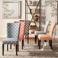 4 padded dining room chairs catherine moroccan pattern fabric parsons dining chair set of 2 by