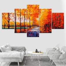 harga abstract art red tree scenery five pieces canvas oil printings painting home wall decor framed