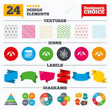 Banner Tags Stickers And Chart Graph Hands Insurance Icons