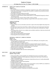 Assistant Editor Resume Samples Velvet Jobs
