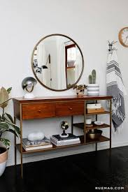 hall table and mirror. Entry Table / Console With Round Mirror - Anne Sage\u0027s Home Tour \u0026 Sage Living Hall And