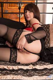 Stocking Wore Brunette Toni Lace Strips And Discloses Attractive Nude Figure Ass Point