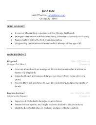 Lifeguard Resume Description