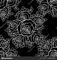 かわいいバラモノクロのシームレスなパターンで花の装飾的な黒と白の