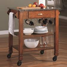 Kitchen Wine Rack Furniture Impressive Oak Wooden Kitchen Cart One Untility Drawer