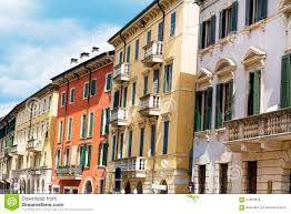 Antique Windows Typical Yellow Building With Antique Windows In Verona Stock Photo