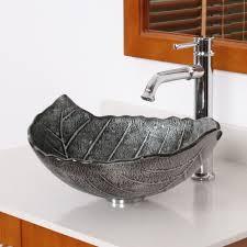 glass bathroom sinks. ELITE Winter Leaves Style Design Tempered Glass Bathroom Vessel Sink Sinks O